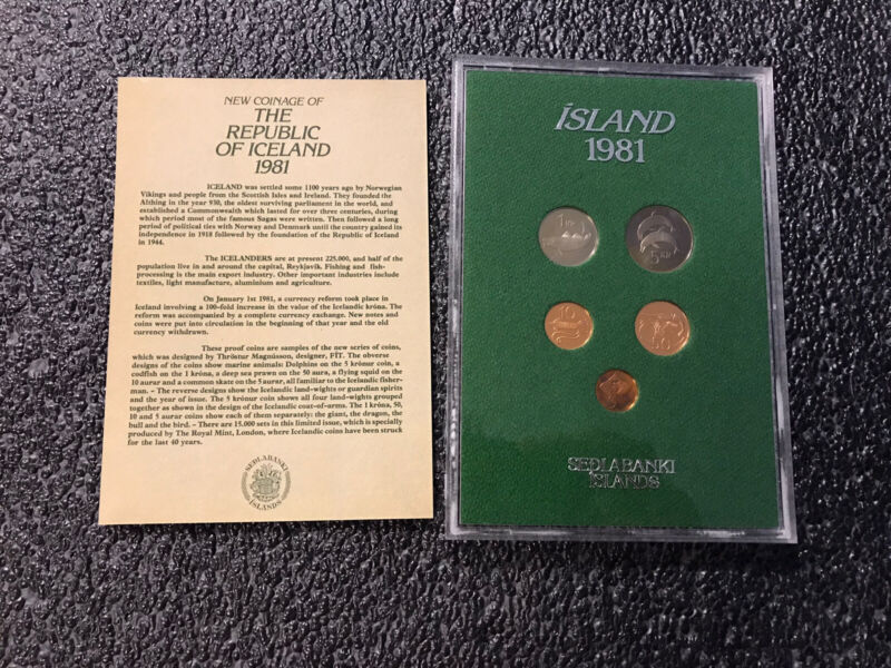 1981 Iceland 5 Coin Proof Set Royal Mint Limited Issued Worldwide RARE!