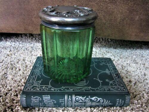 ART NOUVEAU! Antique Emerald Green Silver-plate Tobacco Humidor Cigar Jar Holder