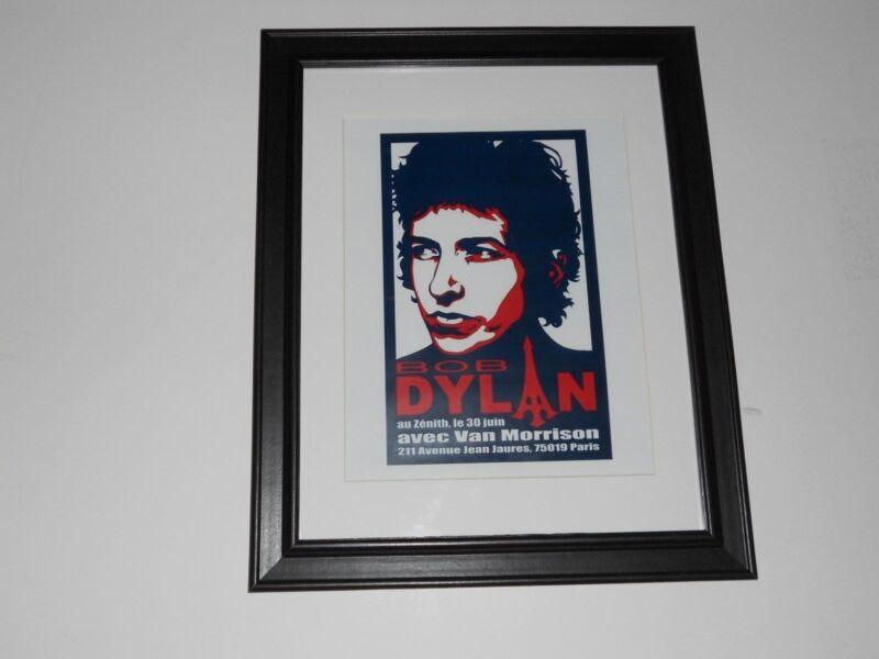 "Framed Bob Dylan / Van Morrison 1998 Paris France  Mini-Poster, 14"" by 17"""