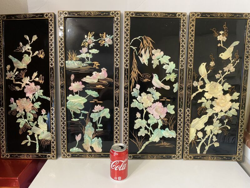 Vtg. Large Oriental Mother Of Pearl Black Laquer Wall Panels Birds Set Of 4