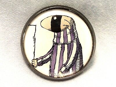 "1"" Edward Gorey Illustration Dog Burglar Literary Nonsense Book Sew Button EG74"