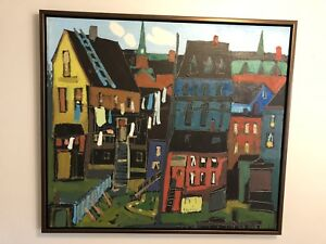gerry collins;painting; oil;main st;indian town;36x32;$700.00