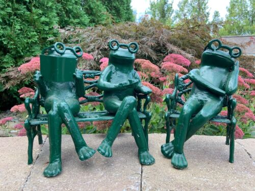 Rare Vintage Green Cast Iron Frogs