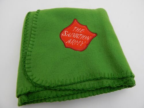 "Salvation Army Throw Blanket Embroidered Logo 30"" x 40"" Green Red Logo"