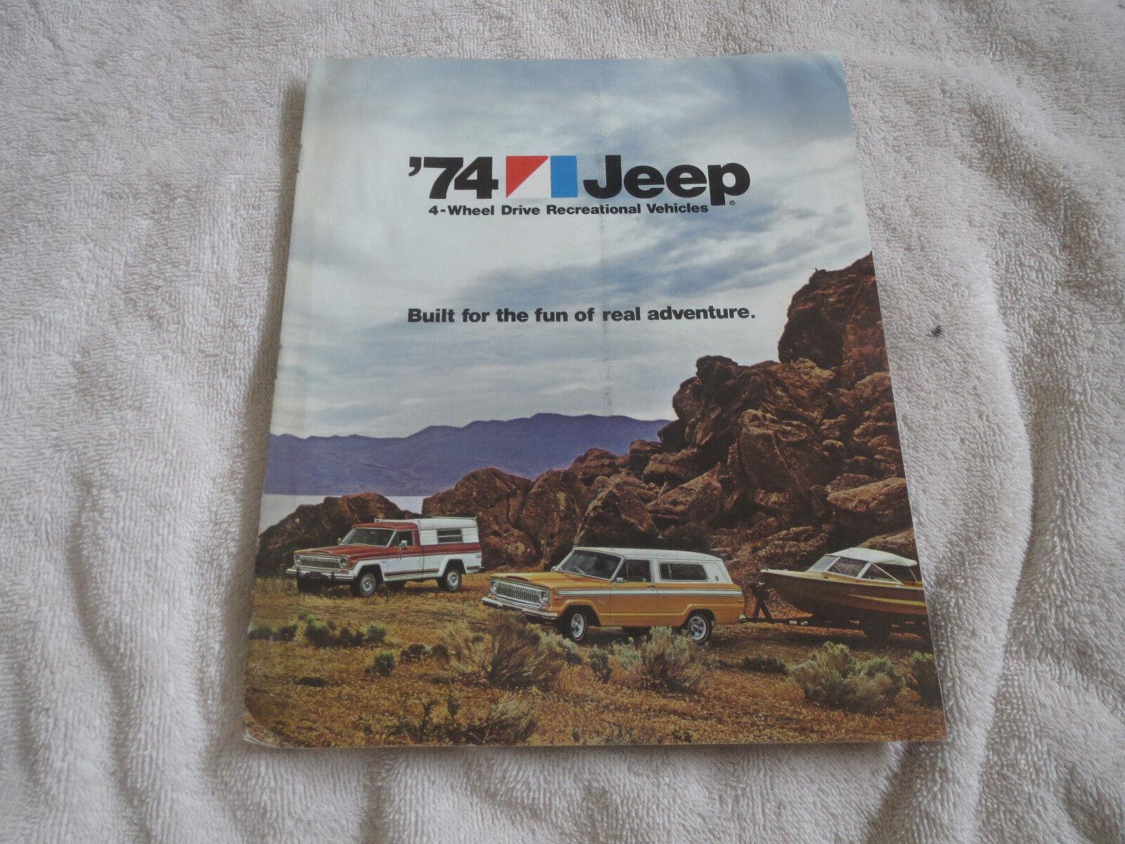 1974 JEEP CHEROKEE PICKUPS CJ5 CJ6 WAGONEER ORIGINAL DEALER SALES BROCHURE