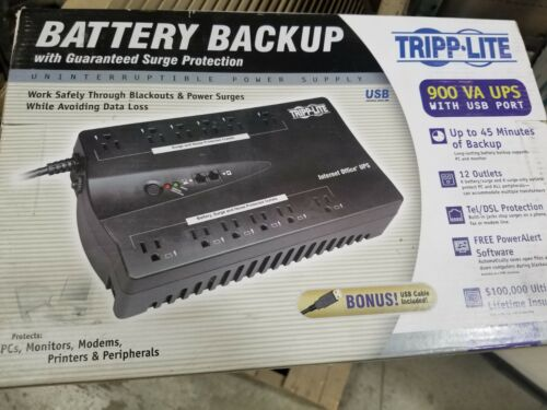 New Tripp Lite Ups 900va Desktop Battery Back UPS Port 12 Outlets 45 Minute Back
