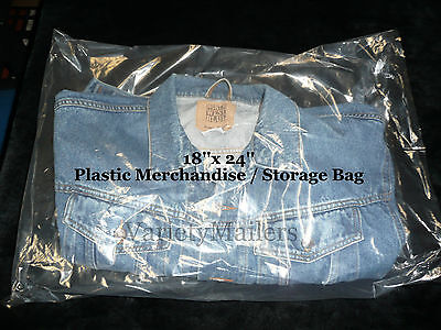 100 Extra Large 18x 24 Clear Flat Plastic Merchandise Storage Bags 1.5 Mil