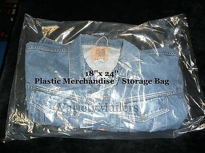 50 Large 18x 24 Clear Flat Plastic Merchandise Storage Bags 1.5 Mil