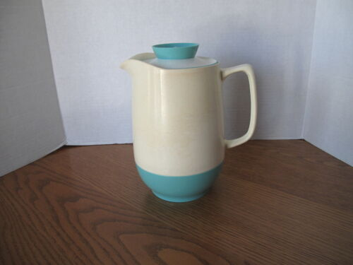 """Vintage Vacron Pitcher Classic Mid-Century Retro White & Teal - 9"""" Tall"""