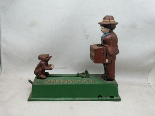 Cast Iron Mechanical Monkey Bank Organ Grinder