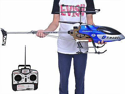 53 Inch Extra Large GT QS8006 2 Speed 3.5 Ch RC Helicopter Builtin GYRO Blue