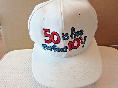 50th Birthday Gag Gift Fifty is Five Perfect 10's Cap Hat  (50th Birthday Hats)