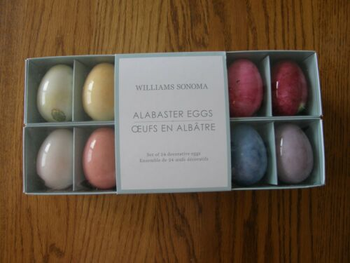 Set of 24:Williams Sonoma Beautiful Multicolored Alabaster Easter Eggs-Decor-New