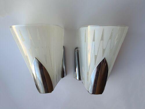 Mid Century Modern Vintage Pair Art Deco VIRDEN Glass Slip Shade Chrome Sconces