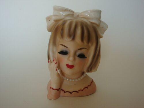 "Vintage 1964 INARCO Teen Lady  Headvase - Big Bow! -  4 1/2 "" Tall - NICE!!"