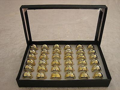 """36 Acryl-Ringe im Display Restposten - goldfarben  """"Metallic"""""""