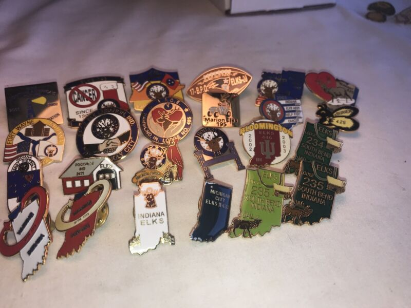 BPOE 1 Lot (24) Indiana Elks Lodge Pins.