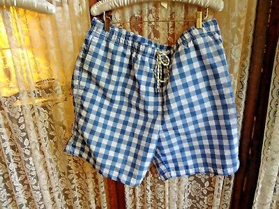 Vintage Men's Tommy Bahama blue and white poly check swim suit trunks XL