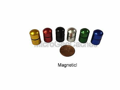 6 - Color Small Magnetic Micro Geocaching Containers Baby Bison Tube Geocache