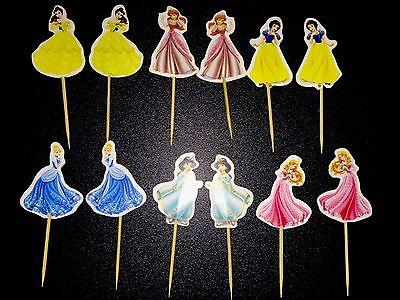 12 X Princess Cake Picks / Cupcake Toppers Party Decorations Cinderella 7