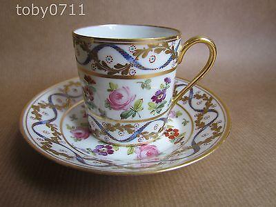 SEVRES PORCELAIN COFFEE CUP & SAUCER VINTAGE PINK ROSES/OVERLAID GILT (Ref546)