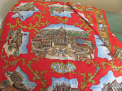 Souvenir Rome Scarf with Famous Landmarks, Made in Italy