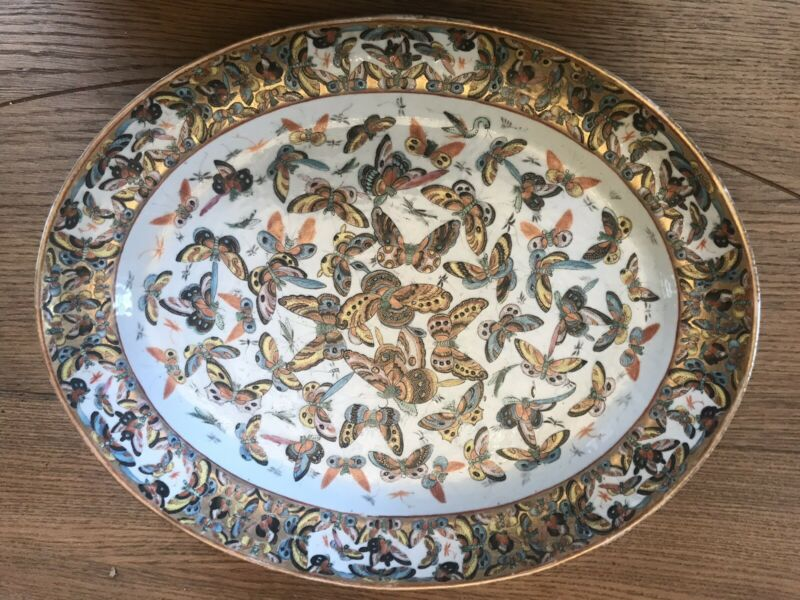 Chinese Famille Rose Thousand Butterfly Platter