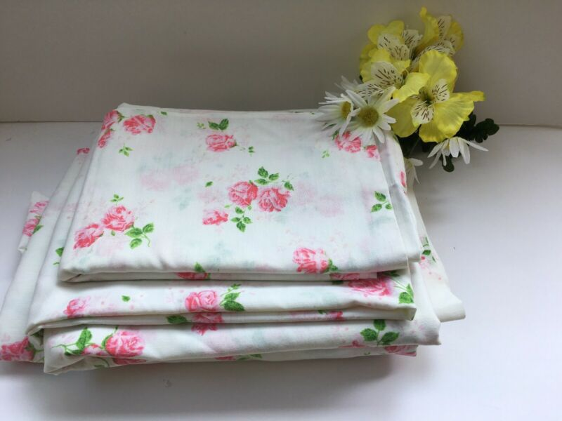 Vintage Dan River Full/Double Size Sheet Set  Rose Pattern