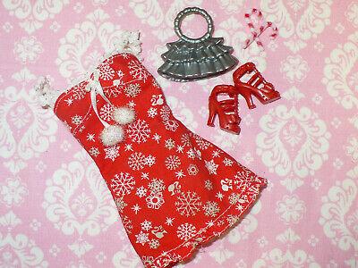 Mattel Barbie Doll Clothing Lot HOLIDAY CHRISTMAS DRESS and ACCESSORIES Shoes ++