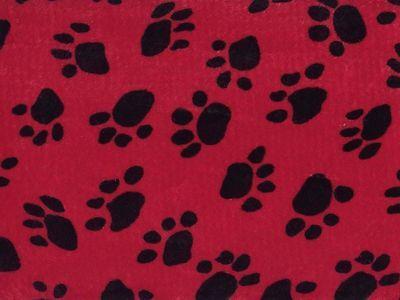 VELBOA FAUX FUR RED DOG PAW ANIMAL PRINT FABRIC 60