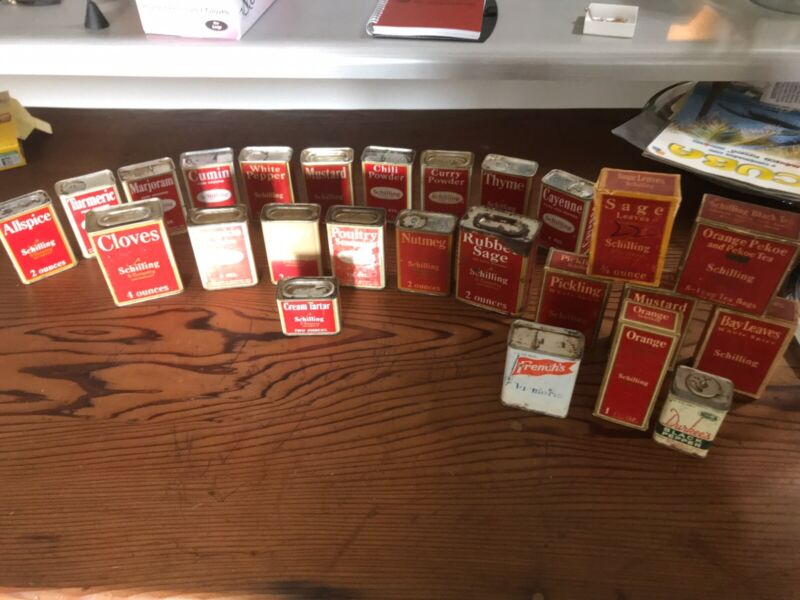 Vintage Schilling Spice Tins And Boxes 23 Pieces +2