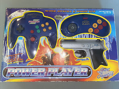Vintage Power Player Super Joystick And Power Gun TV Game Blue Plug And Play