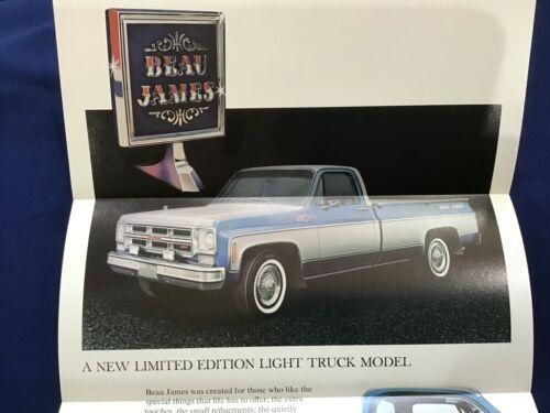 1975 GMC Beau James Pick-up Truck Sales Fold-out Poster / Brochure Original New