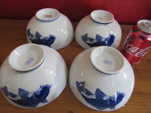 4 Vtg Chinese Blue&White Koi 7