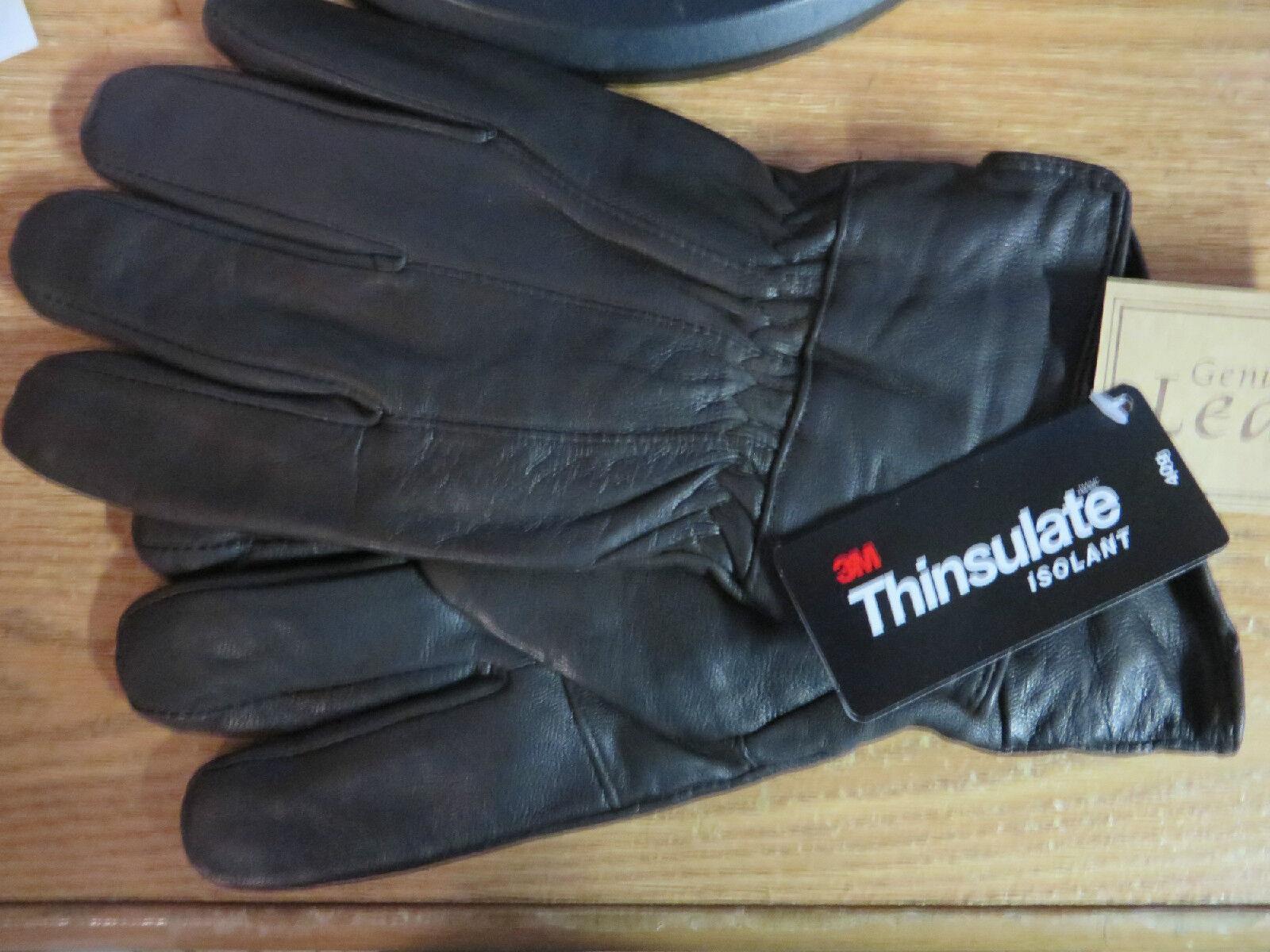 Купить Mens Black Soft Leather Gloves 40 Gram Thinsulate Insulation