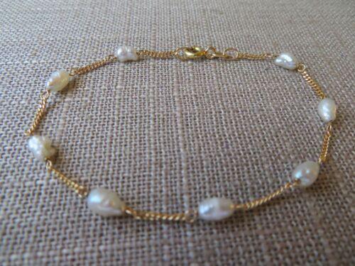 Vtg 18k Solid Yellow Gold Chain Link Freshwater Baroque Pearl Station Bracelet