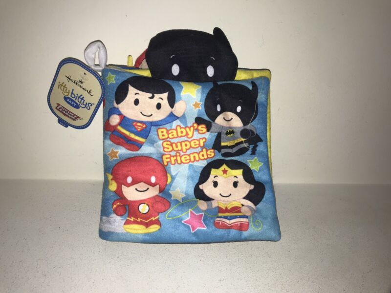 Hallmark Itty Bittys Baby Super Hero Friends fabric crinkle Book Justice League