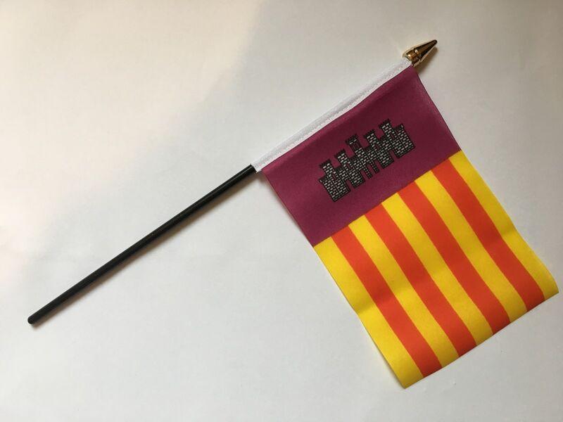 """MALLORCA MAJORCA SMALL HAND FLAG 6""""X4"""" flags BALEARIC ISLANDS SPAIN SPANISH"""