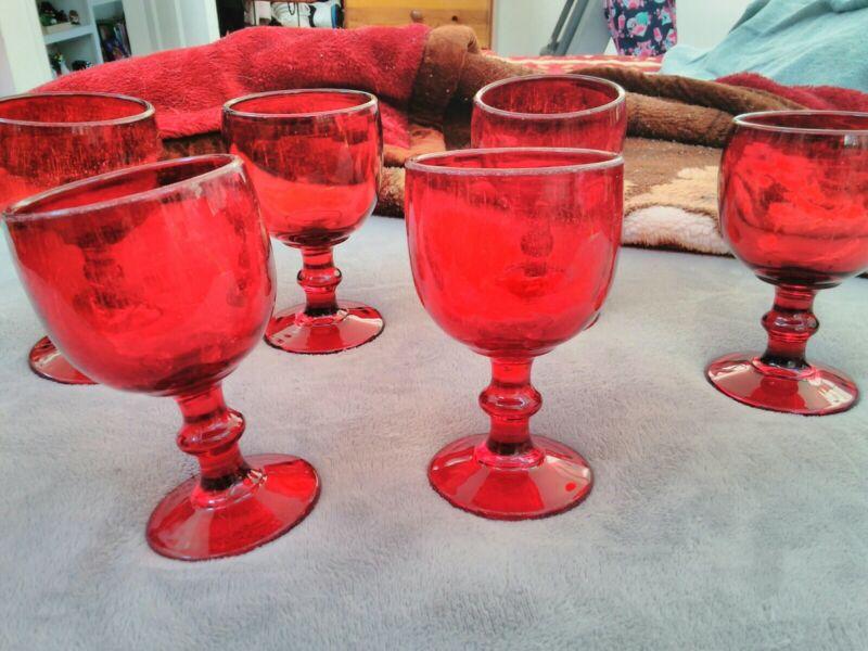 Red Vintage Drinking Goblets  Set Of 6