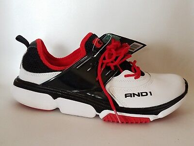AND1 Mens 8 Med Contender Sneakers Shoes Black Red White Leather Basketball Mesh Black Leather And Mesh Sneakers