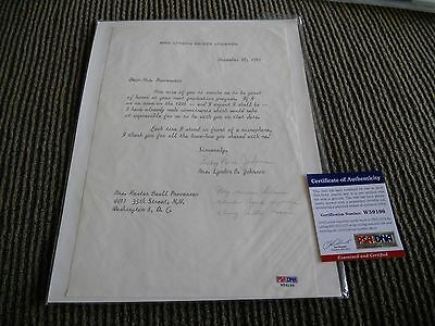 Lady Bird Johnson 1st Lady Signed Autographed Letter W/ Message PSA Certified