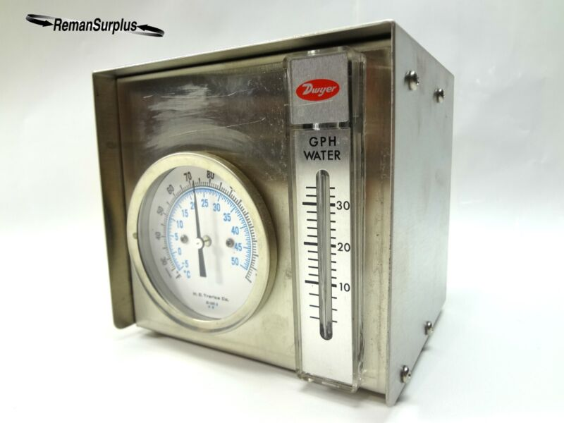 COMBINATION DWYER GPH WATER FLOW METER & H.O. TRERICE THERMOMETER COMBO GAUGE