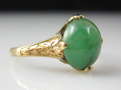 Antique Jade Ring 18K Yellow Gold Nephrite Cabochon Victorian Period Green