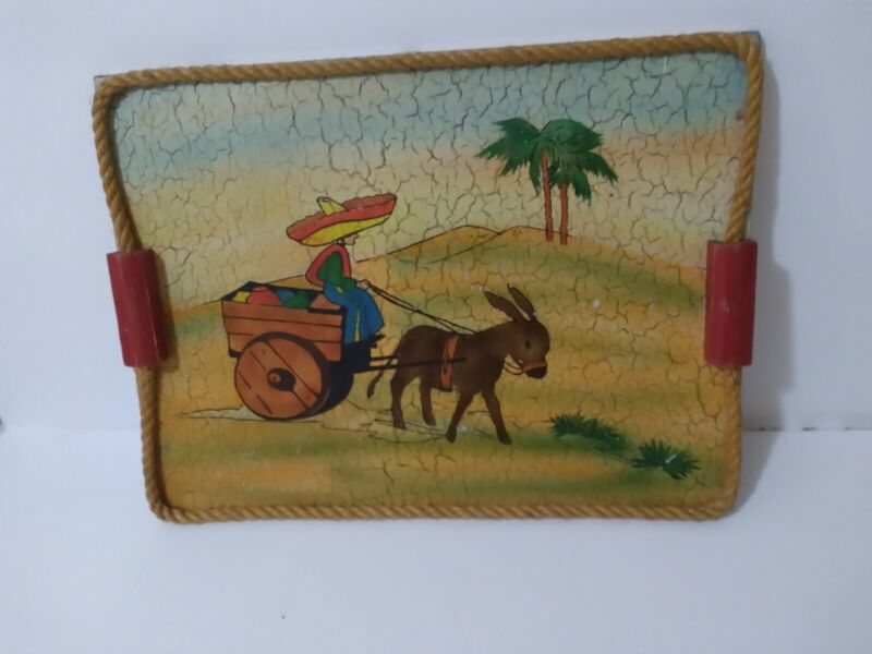 Vintage 1940s Mexican Folkart Handpainted Wood Tray-Mexicali Man Donkey/Cart