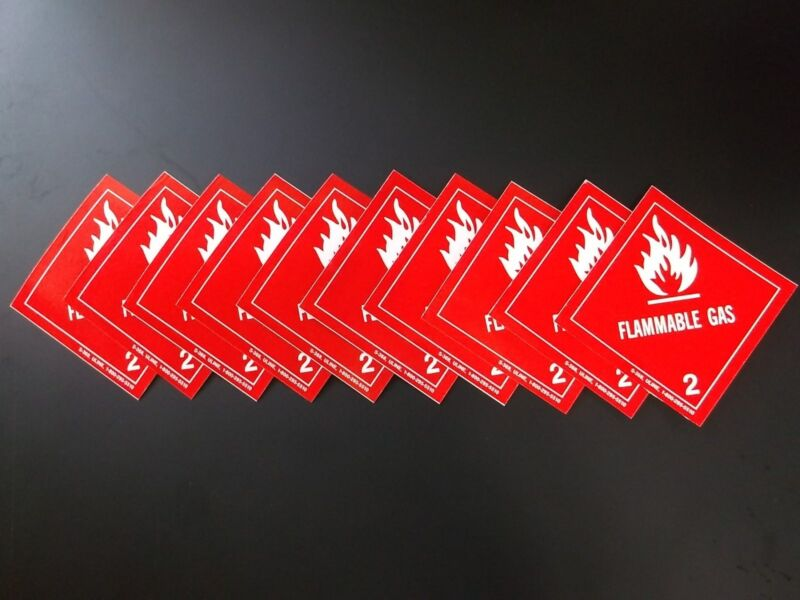 """10-Pack Labels FLAMMABLE GAS 2 Red/White 4"""" x 4"""" Self Adhesive Paper Sticker NEW"""