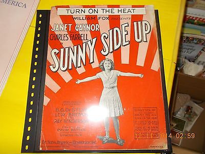 VINTAGE 1929 SUNNY SIDE UP SHEET MUSIC, JANET GAYNOR & CHARLES FARRELL