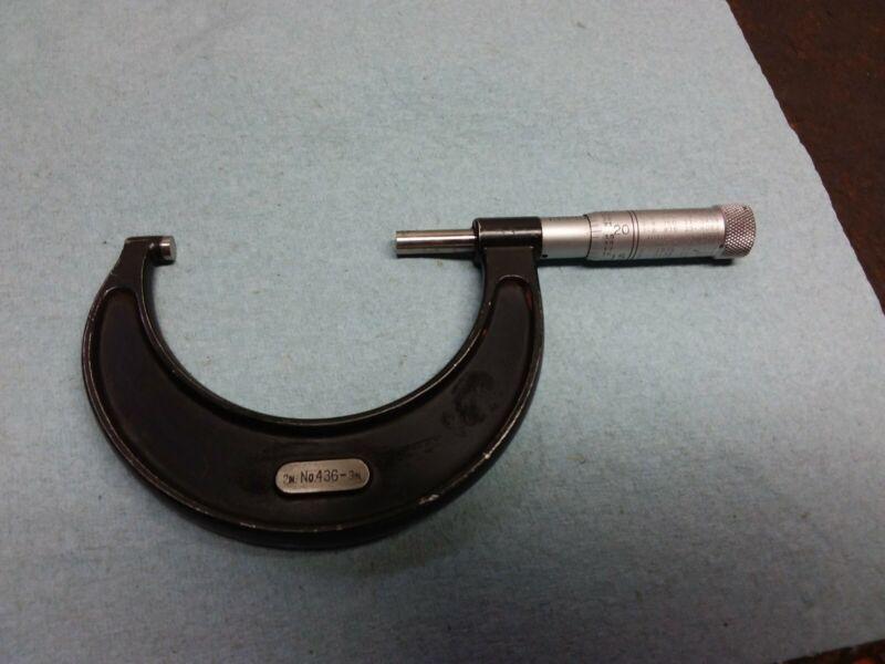 """Vintage Starrett No. 436  2"""" To 3"""" Micrometer w/Wood Box"""