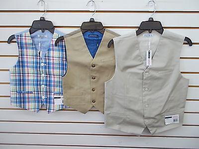 Boys IZOD $40 Plaid, Med Khaki, or Stone Vests Size 8 - 18/20