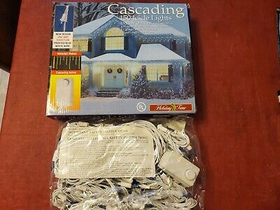 HOLIDAY TIME 150 COUNT CASCADING ICICLE LIGHTS WHITE WIRE WEDDINGS & CHRISTMAS