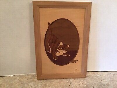 "Wood Cat & Mouse, Hudson River Inlay, Marquetry, 6 3/4"" X 9 3/4"", Good."